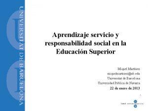 Aprendizaje servicio y responsabilidad social en la Educacin