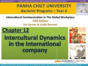 PANHA CHIET UNIVERSITY Intercultural Communication Chapter 12 Intercultural