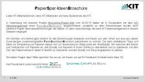 Papier Spar Ideen Broschre Liebe KIT Mitarbeiterinnen liebe