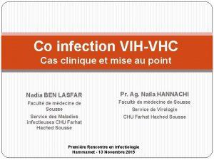 Co infection VIHVHC Cas clinique et mise au