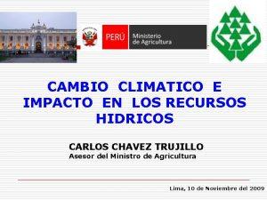 CAMBIO CLIMATICO E IMPACTO EN LOS RECURSOS HIDRICOS