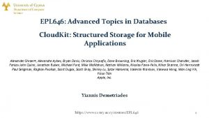EPL 646 Advanced Topics in Databases Cloud Kit