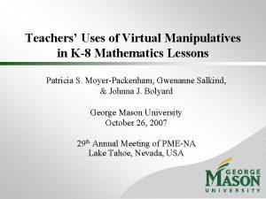 Teachers Uses of Virtual Manipulatives in K8 Mathematics