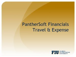 Panther Soft Financials Travel Expense Agenda Frequently Used
