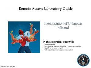 Remote Access Laboratory Guide Identification of Unknown Mineral