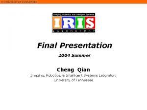 Final Presentation 2004 Summer Cheng Qian Imaging Robotics