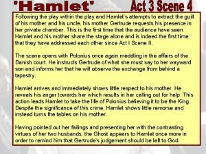 Following the play within the play and Hamlets