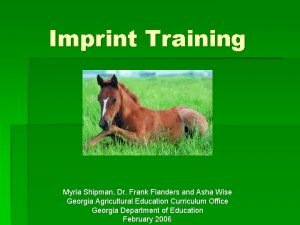 Imprint Training Myria Shipman Dr Frank Flanders and