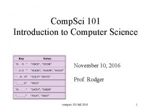Comp Sci 101 Introduction to Computer Science November