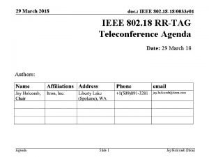 29 March 2018 doc IEEE 802 18 180033