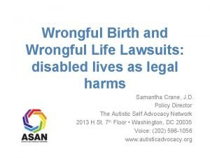 Wrongful Birth and Wrongful Life Lawsuits disabled lives