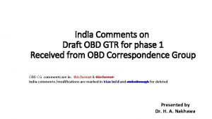 India Comments on Draft OBD GTR for phase