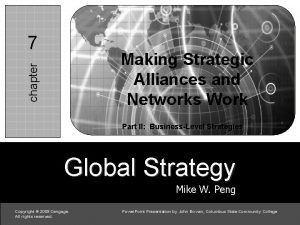 7 7 c chapter Making Strategic Alliances and