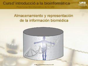 Almacenamiento y representacin de la informacin biomdica 2006