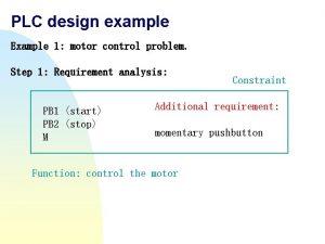 PLC design example Example 1 motor control problem
