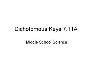 Dichotomous Keys 7 11 A Middle School Science