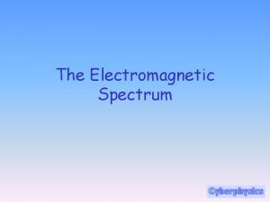 The Electromagnetic Spectrum Electromagnetic radiation is a disturbance
