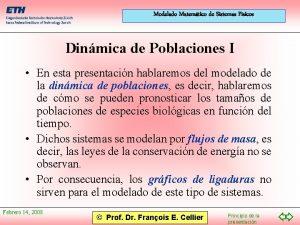 Modelado Matemtico de Sistemas Fsicos Dinmica de Poblaciones