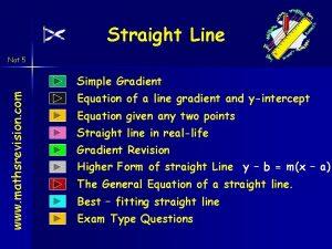 Straight Line Nat 5 www mathsrevision com Simple