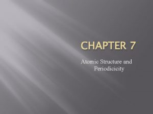 CHAPTER 7 Atomic Structure and Periodicicity Terms Atomic