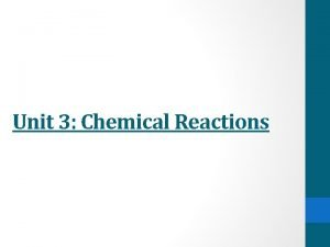 Unit 3 Chemical Reactions Representing Chemical Reactions Chemical