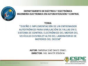 DEPARTAMENTO DE ELCTRICA Y ELECTRNICA INGENIERA ELECTRNICA EN