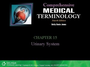 CHAPTER 15 Urinary System Copyright 2011 Delmar Cengage
