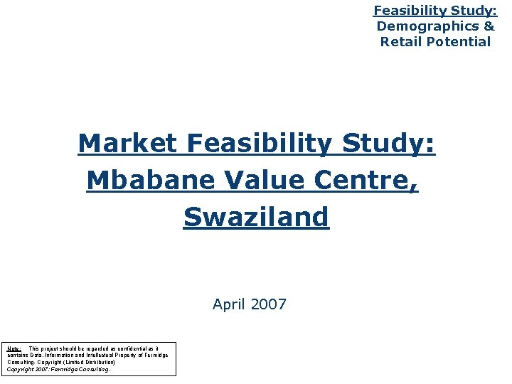 Feasibility Study Demographics Retail Potential Market Feasibility Study