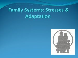 Family Systems Stresses Adaptation Overview An individual familys