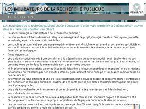 LES INCUBATEURS DE LA RECHERCHE PUBLIQUE CE QUILS
