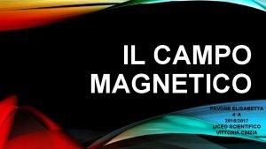 IL CAMPO MAGNETICO PAVONE ELISABETTA 4A 20162017 LICEO