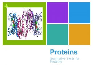 Proteins Qualitative Tests for Proteins n Proteins are