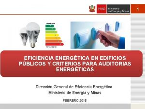 1 EFICIENCIA ENERGTICA EN EDIFICIOS PBLICOS Y CRITERIOS