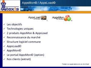Apps Mon Apps Load Les objectifs Technologies uniques