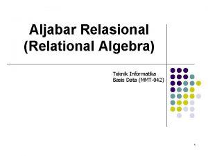 Aljabar Relasional Relational Algebra Teknik Informatika Basis Data