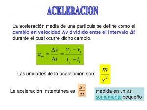 La aceleracin media de una partcula se define