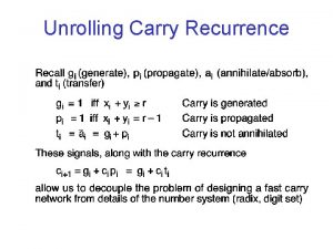 Unrolling Carry Recurrence CarryLookahead Equations 4 Bit CLA