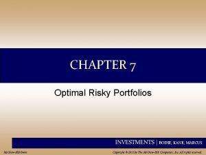 CHAPTER 7 Optimal Risky Portfolios INVESTMENTS BODIE KANE