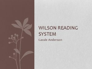 WILSON READING SYSTEM Cassie Anderson Background Barbra A