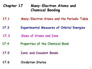 Chapter 17 ManyElectron Atoms and Chemical Bonding 17