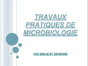 TRAVAUX PRATIQUES DE MICROBIOLOGIE PAR EMILIE ET SEVERINE