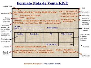 Formato Nota de Venta RISE Leyenda RISE Razn