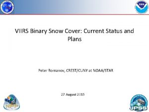 VIIRS Binary Snow Cover Current Status and Plans