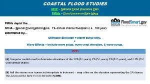 COASTAL FLOOD STUDIES NFIP National Flood Insurance Plan