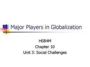 Major Players in Globalization HSB 4 M Chapter