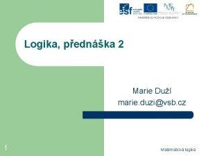 Logika pednka 2 Marie Du marie duzivsb cz