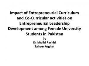 Impact of Entrepreneurial Curriculum and CoCurricular activities on