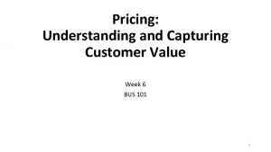 Pricing Understanding and Capturing Customer Value Week 6