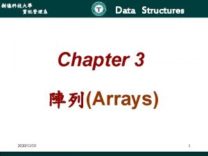 Data Structures Chapter 3 Arrays 20201110 1 Data