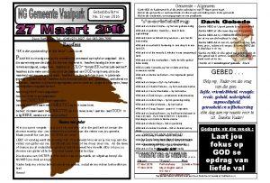 Gemeente Algemeen Gebedsbulletin No 13 van 2016 Dank